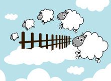 Sheep on the sky jumping fence Stock Photo
