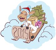 Sheep on a sledge with gifts. Symbol 2015. Vector cartoon illustration royalty free illustration