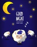 Sheep sleep under moon light vector illustration