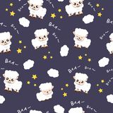 Sheep sleeping sweet dream background fabric animal cartoon collection background vector illustration using for kids. Sheep sleeping sweet dream background vector illustration