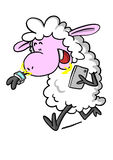 Sheep with smart watch and phone Stock Images