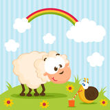Sheep and snail vector Stock Images