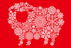 Sheep with snow crystals and doilies. Royalty Free Stock Photos