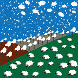 Sheep and snowflakes in the mountains. Sheep, forest, clouds and snowflakes in the mountains vector illustration