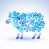 Sheep from snowflakes Stock Images
