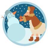 Sheep and Snowman Royalty Free Stock Image