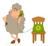 Sheep speaks by phone Royalty Free Stock Photos