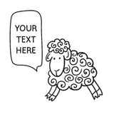 Sheep With Speech Bubble. Illustration card with hand drawn lamb and bubble speech. You can put your own text on speech bubble or sign board Stock Photography