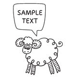 Sheep With Speech Bubble. Illustration card with hand drawn lamb and bubble speech. Stock Photos
