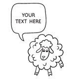 Sheep With Speech Bubble. Illustration card with hand drawn lamb and bubble speech. Royalty Free Stock Image