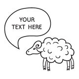 Sheep With Speech Bubble. Illustration card with hand drawn lamb and bubble speech. You can put your own text on speech bubble or sign board Royalty Free Stock Photography