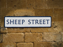 Sheep Street Sign. Stone wall with cute Street sign Stock Photos