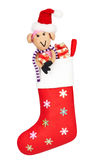 New Year 2015 decoration. Christmas stocking with sheep Royalty Free Stock Photos