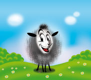 Sheep. On summer landscape background, blue sky, clouds, green trees, grass and flowers. Digital illustrations for different arts stock illustration