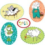Sheep in summer, winter, spring and autumn. Stock Photography