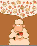 sheep with sweet cakes and tea Stock Photo