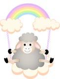 Sheep in swing cloud rainbow Stock Image