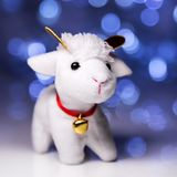 Sheep the symbol 2015 year. White sheep toy the Chinese symbol of 2015 year on blurred lights background stock photography