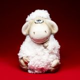 Sheep the symbol 2015 year. White sheep toy the Chinese symbol of 2015 year on red background stock image