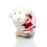 Sheep the symbol 2015 year. White sheep toy the Chinese symbol of 2015 year on white background royalty free stock photos