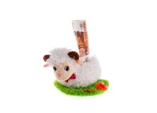 Sheep a toy moneybox Stock Images
