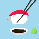Sheep , tuna sushi with chopstick , wasabi and shoyu ,. This sheep is cute and delicious. It look like tuna fish Royalty Free Stock Images