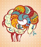 2015 Sheep. Vector illustration with decorative sheep Stock Illustration