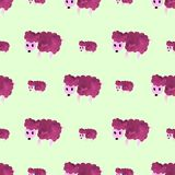 A sheep in watercolor, seamless pattern, wallpaper. Hand painted. Stock Photos