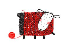 Sheep Wearing Handcrafted Knitting Sweater Stock Photo