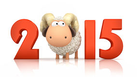 Sheep and 2015 on white background Royalty Free Stock Photography