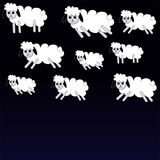 Sheep. White sheep on black - blue background. Vector illustration Royalty Free Stock Images