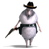 Sheep of the wild west. 3D rendering of a sheep of the wild west with clipping path and shadow over white Stock Photography