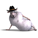 Sheep of the wild west. 3D rendering of a sheep of the wild west with clipping path and shadow over white stock illustration