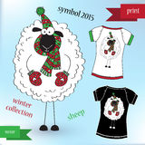 Sheep in winter hat Graphic T- shirt design print. Vector illustration Royalty Free Illustration