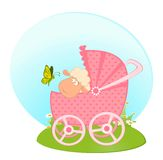 Sheep With Scribble Baby Carriage Stock Image