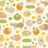 Sheep and wolf. Cute cartoon childish seamless pattern in . Seamless pattern can be used for wallpaper, pattern fills, web page backgrounds, surface textures Stock Photo