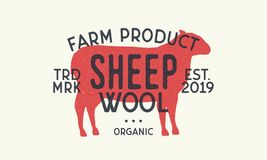 Sheep wool. Vintage logo, print. Retro poster. Sheep silhouette. Vector Illustration. Sheep wool. Vintage logo, print. Retro poster vector illustration