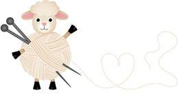 Sheep with wool yarn and knitting needles Stock Image