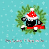 Sheep and wreath. Christmas and New Year's card with an amusing sheep and wreath. Chinese astrological sign. Symbol 2015 year. Vector illustration stock illustration