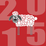 Sheep 2015 year  on red background. Greeting Card with sheep 2015 year  on red background Stock Photography
