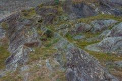 Sheepback-διαμορφωμένοι βράχοι ενός παγετώνα Balteo, στην κοιλάδα Aosta, Ιταλία Στοκ Φωτογραφίες