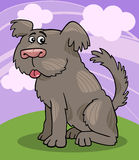 Sheepdog shaggy dog cartoon illustration. Cartoon Illustration of Funny Shaggy Sheepdog or Bobtail Dog against Sky with Clouds Royalty Free Stock Photos