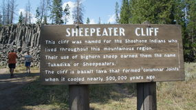 Sheepeater Cliff sign Royalty Free Stock Photos