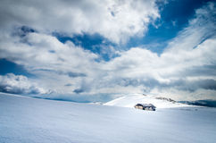 Sheepfold in the mountains in winter. Stock Photo