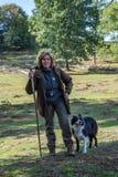 Sheepherder gromadzi się jej cakle przy Veluwe parkiem narodowym 9-2018 fotografia royalty free