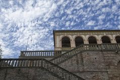 Sheepish sky above the Villa dei Vescovi. View of a sheepish sky above the Villa dei Vescovi Royalty Free Stock Photo