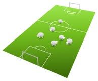 Sheeps. On the football field, cartoon illustration Royalty Free Stock Image