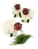 Sheeps chew grass, crafts for kids Royalty Free Stock Photo