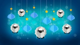 Sheeps and clouds in the sky, best loop video screen background for lullaby to put a baby to sleep, calming relaxing