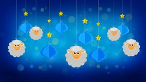 Sheeps and clouds in the sky, loop video screen background
